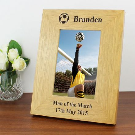 Personalised Football 6x4 Oak Finish Photo Frame